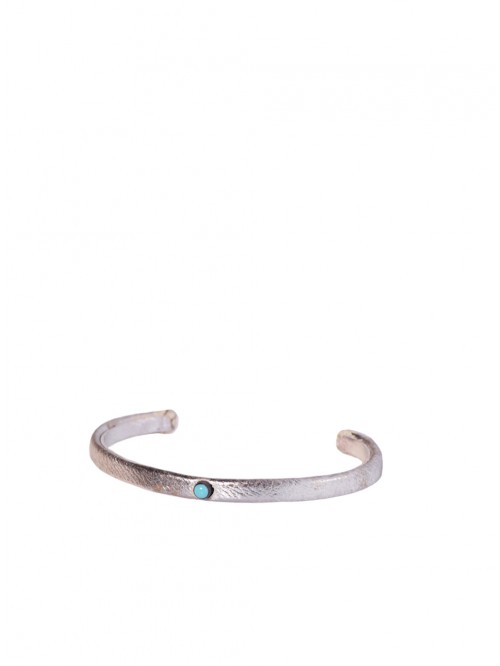 SILVER AND TURQUOISE LEATHER BRACELET