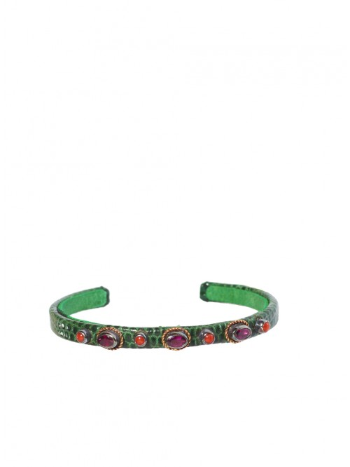 GREEN AND CORAL LIZARD BRACELET