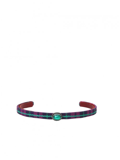 PURPLE AND AGATE TARTAN BRACELET