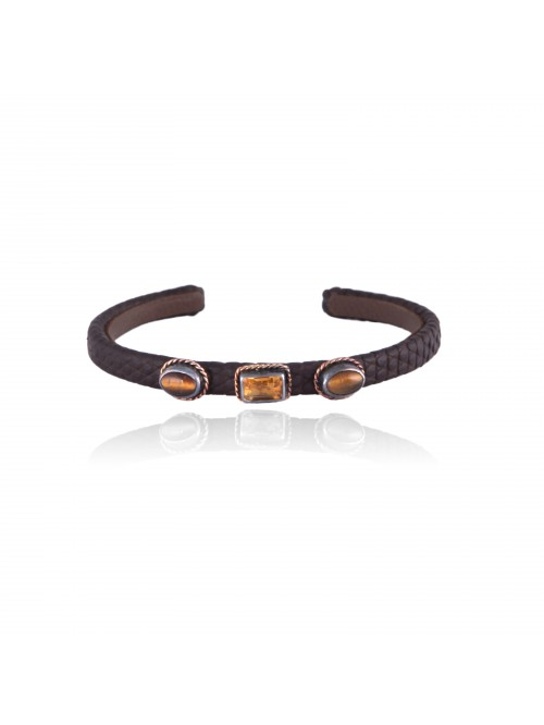 LIGHT BROWN LIZARD CUFF
