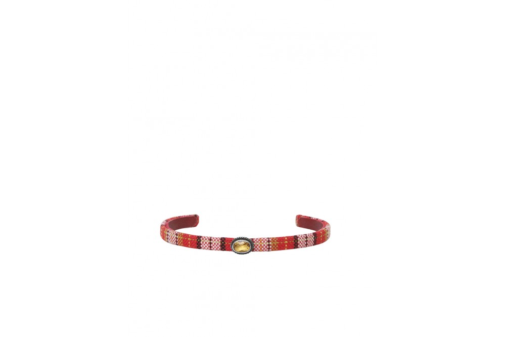 PINK AND CITRINE TARTAN BRACELET