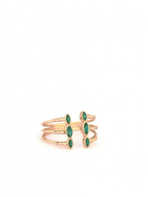 TRIPLE RING OR ROSE EMERAUDE