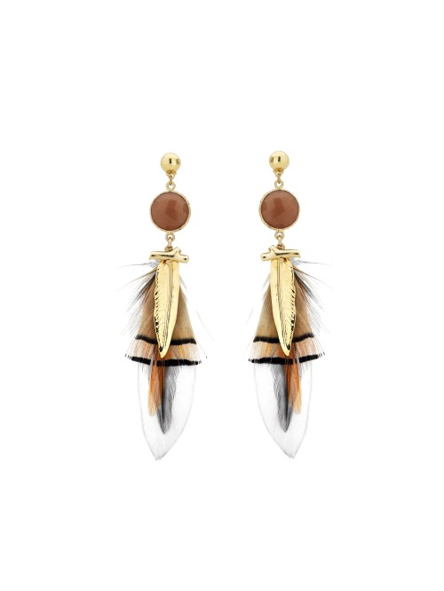 BOUCLES D'OREILLES SERTIES PLUME OR