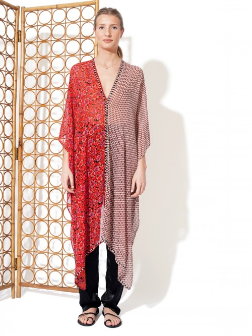 PONCHO BICOLORE ROUGE