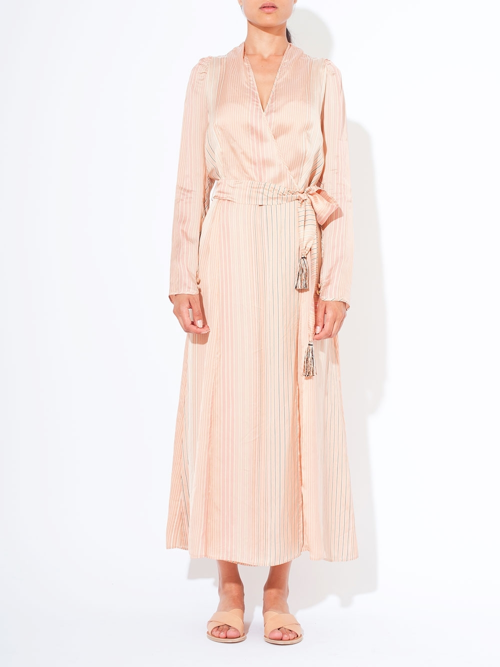 Robe Longue A Rayures Robe Longue Porte Feuille En Soie A Fines Rayures I Roseanna I By Marie