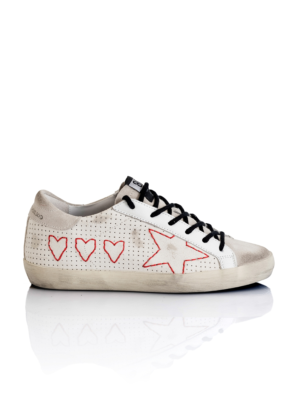 quality design c1689 fd83b Superstar   sneakers en cuir blanc motif coeur   Golden Goose   BY MARIE