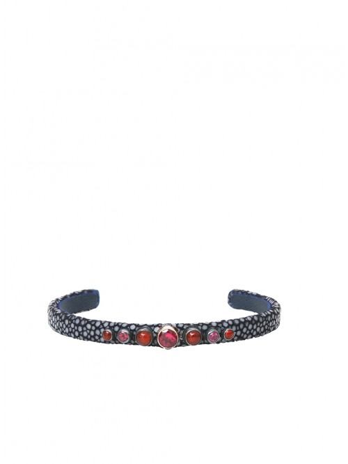 GREY AND RHODOLITE SHAGREEN BRACELET