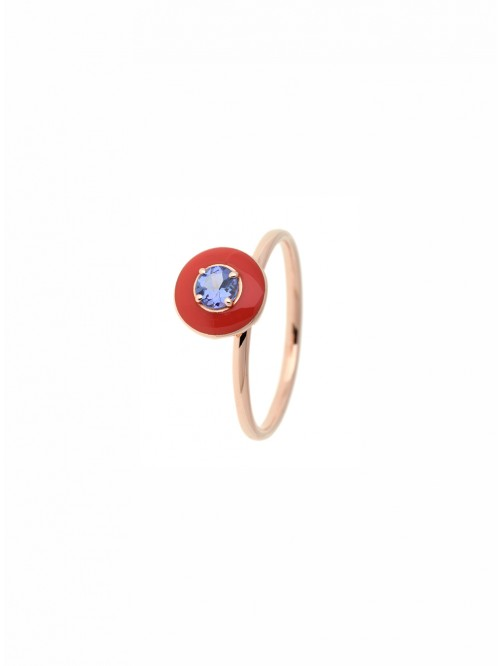 RING GOLD ROSE ENAMEL & TANZANITE