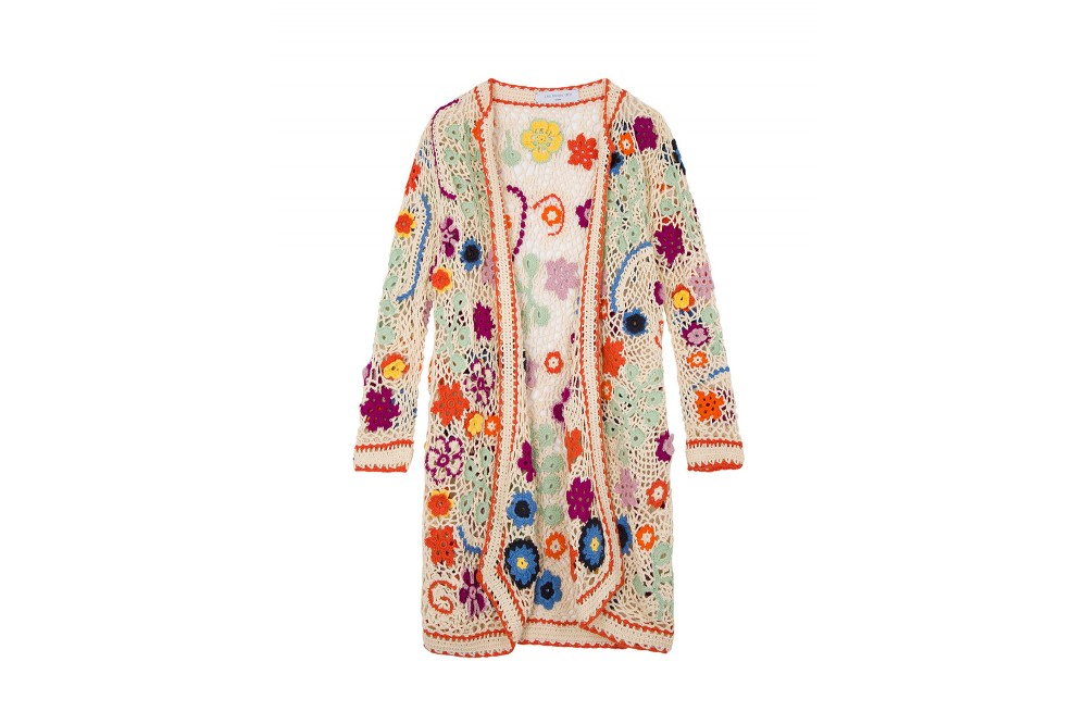 LONG CROCHET CARDIGAN WITH FLOWERS
