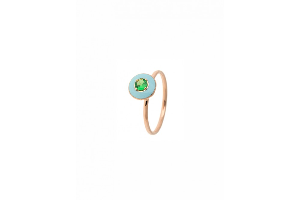 RING GOLD ROSE ENAMEL & TSAVORITE