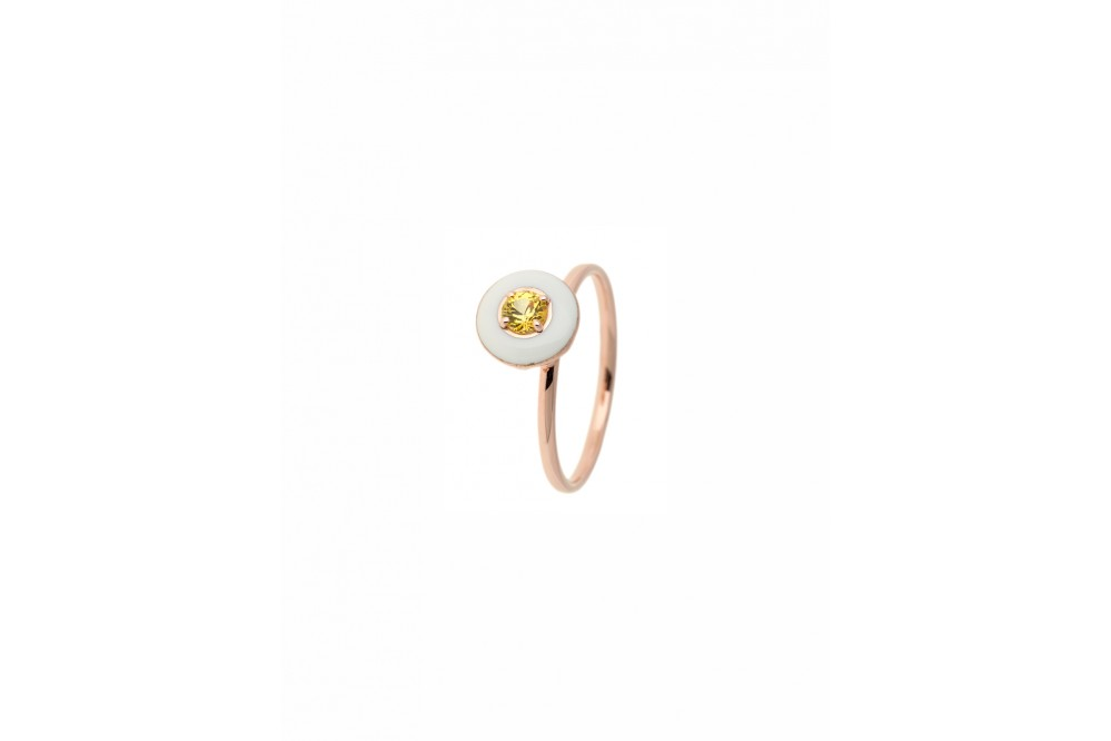 PINK GOLD ROSE ENAMEL & YELLOW SAPHIRE