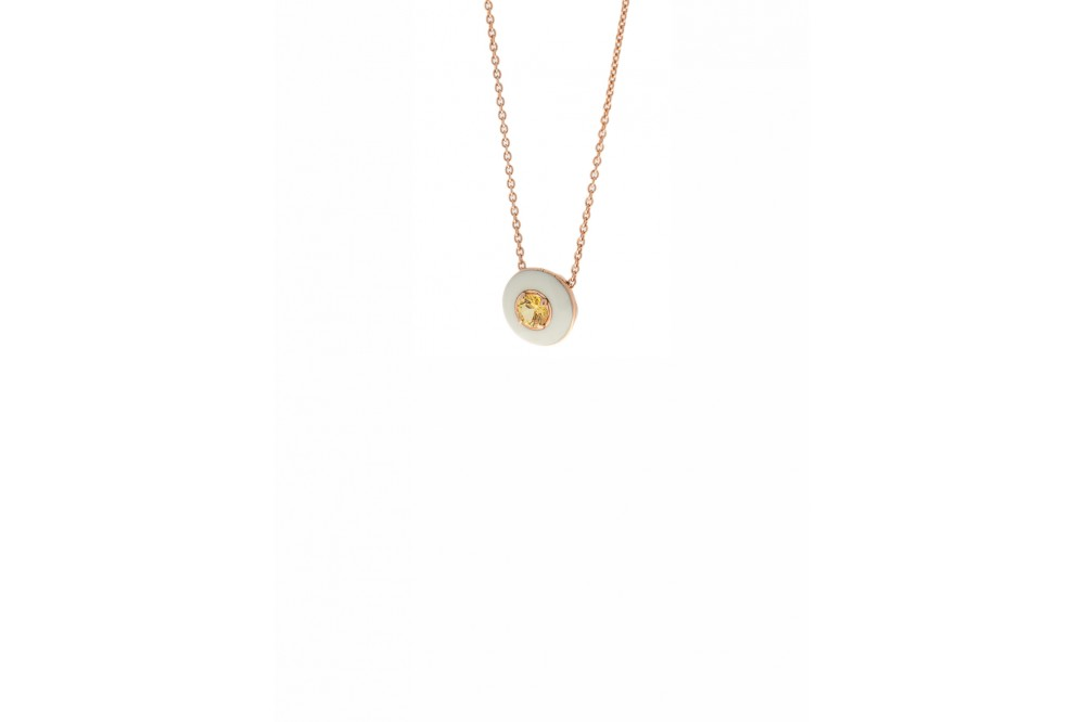 ROSE GOLD NECKLACE ENAMEL & YELLOW SAPPHIRE