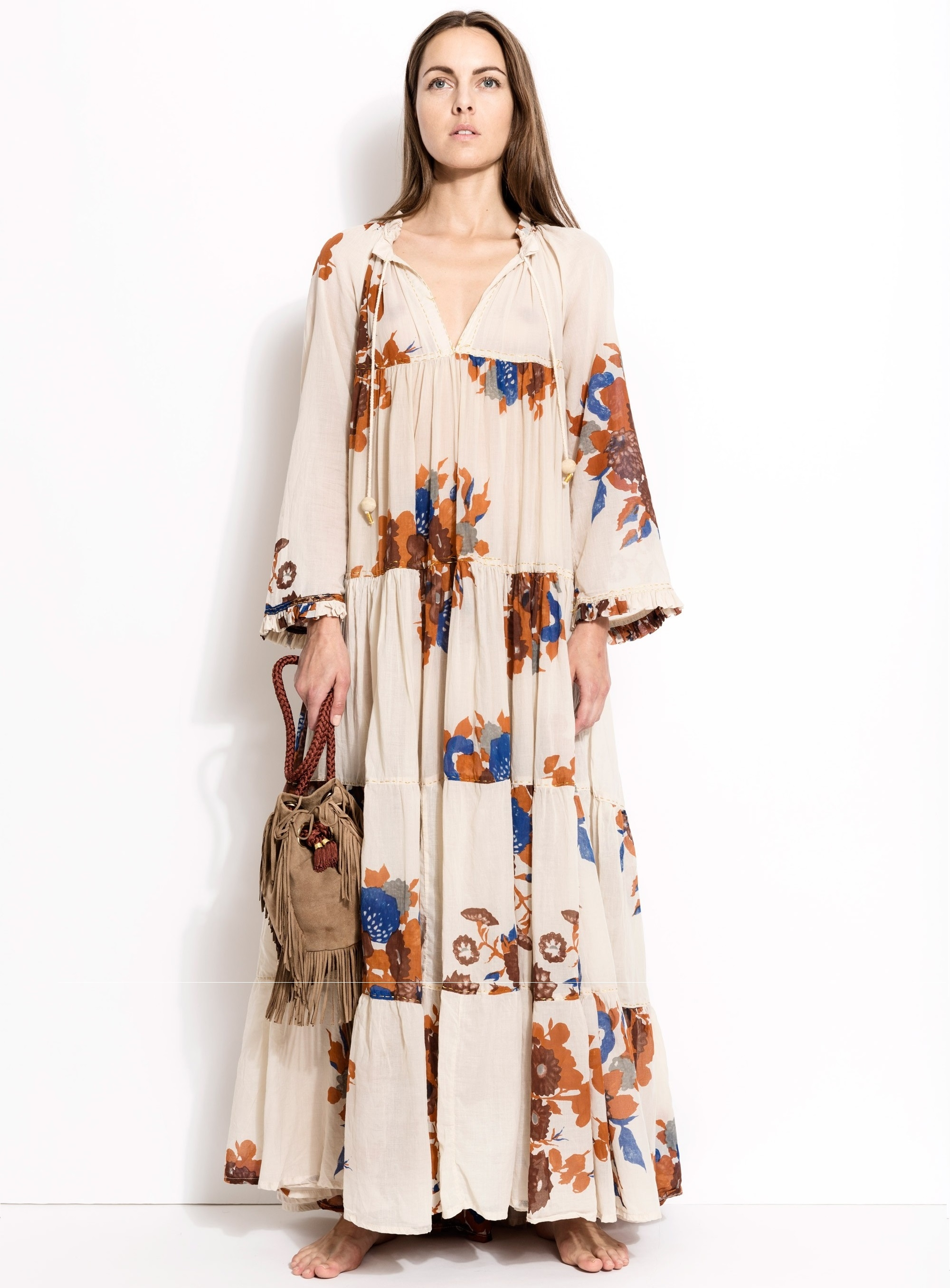 ROBE MAXI HIPPIE MANCHES LONGUES