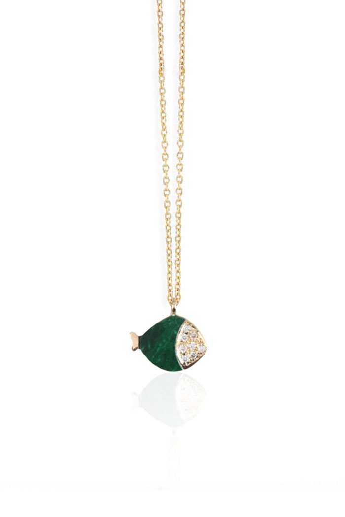 COLLIER MINI POISSON MALACHITE