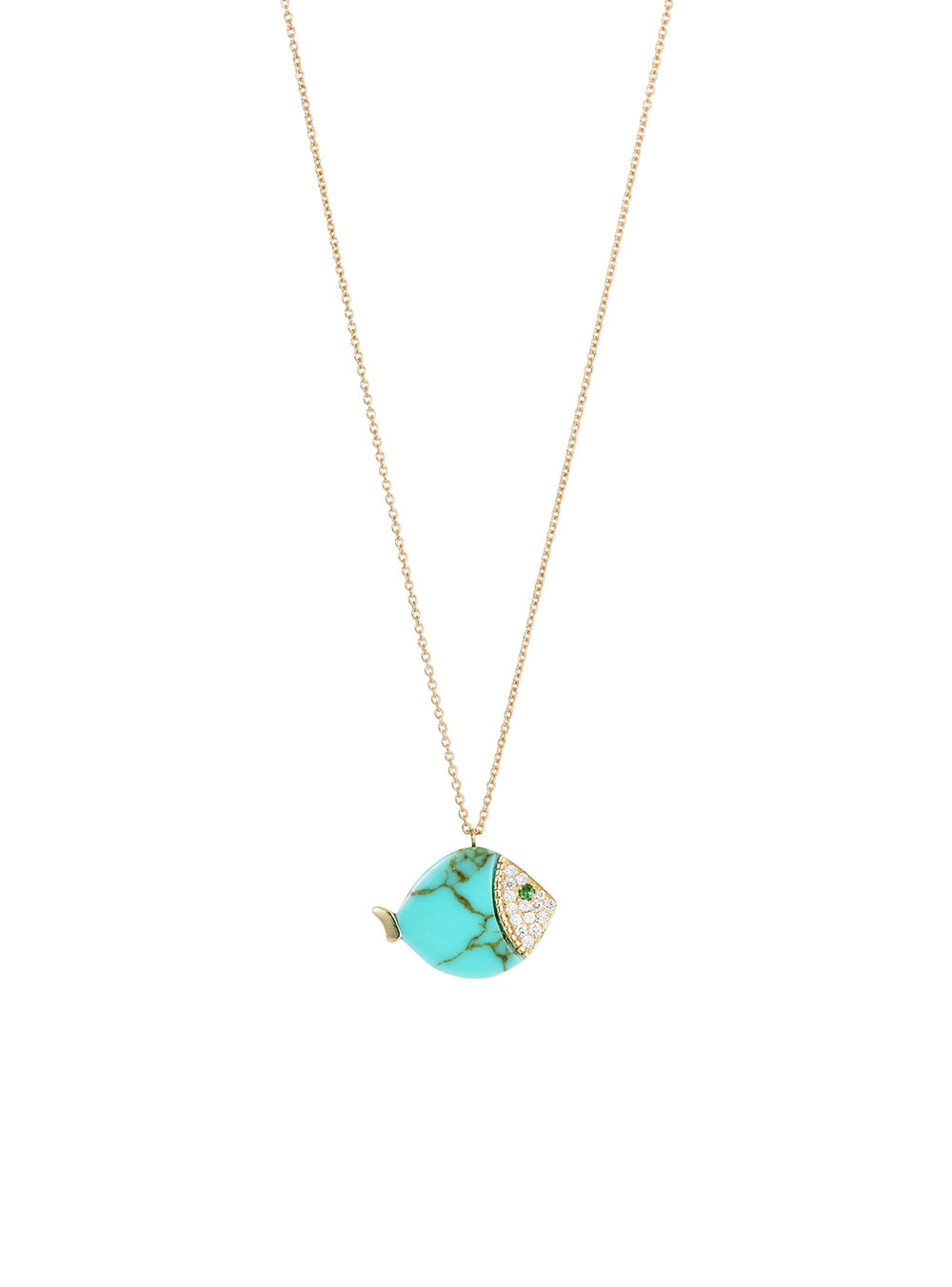 COLLIER LARGE FISH TURQUOISE