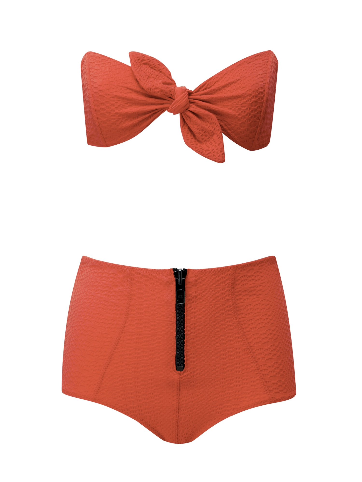 POPPY PUCKER HIGH-WAIST BIKINI