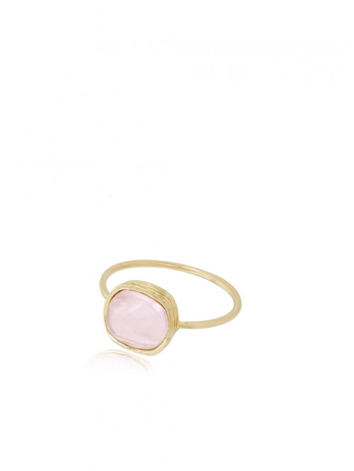 BAGUE OR ET QUARTZ ROSE