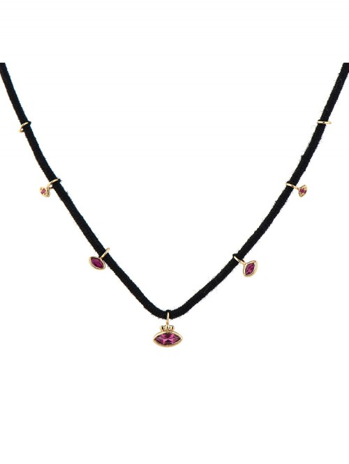 COLLIER MARQUISE BRELOQUES RUBIS