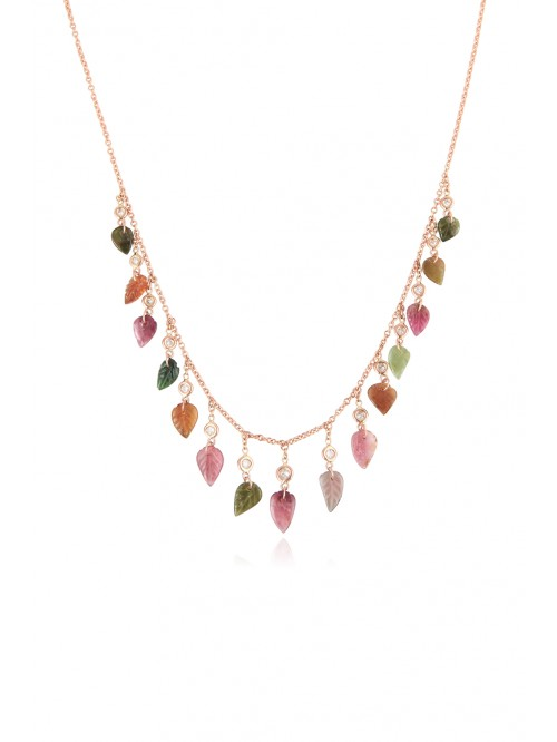 COLLIER TOURM FEUILLES&DIAM