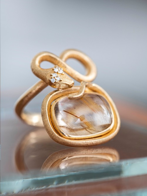 BAGUE SERPENT 18K QUARTZ RUTILE