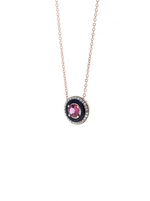 COLLIER OR ROSE 18K DIAMANTS & RHODOLITE