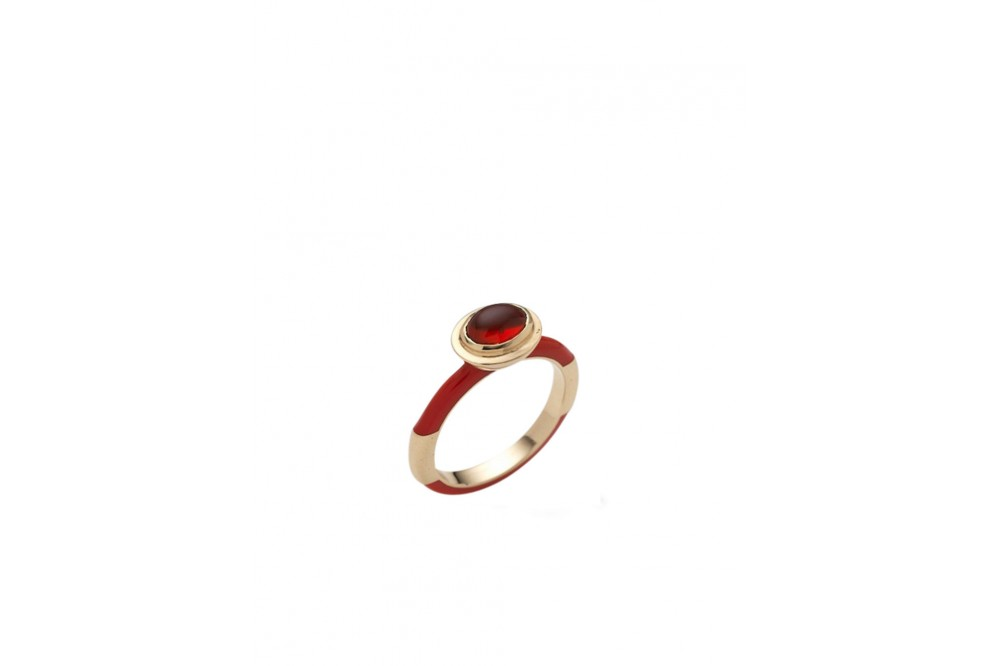 BAGUE 14K OR BLANC OPALE ROUGE