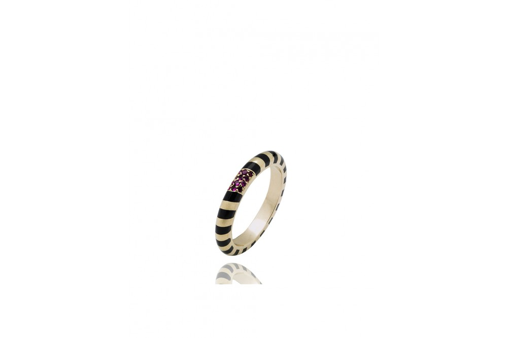 BAGUE CANDY BAND RUBY PAVE
