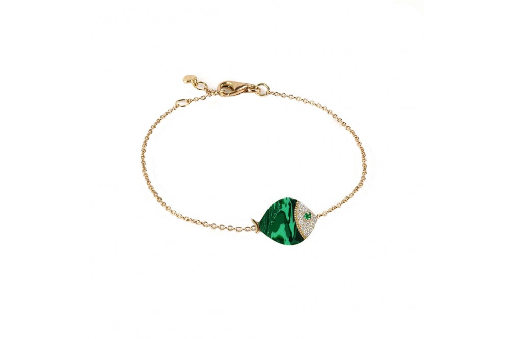 BRACELET LARGE POISSON MALACHITE