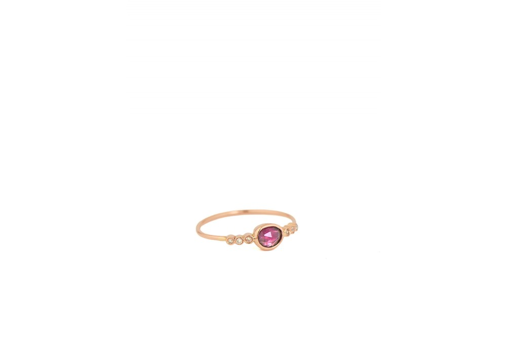 BAGUE EN OR ROSE TOURMALINE