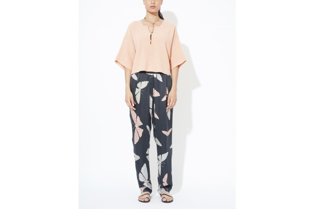 PANTALON EN SATIN PAPILLON