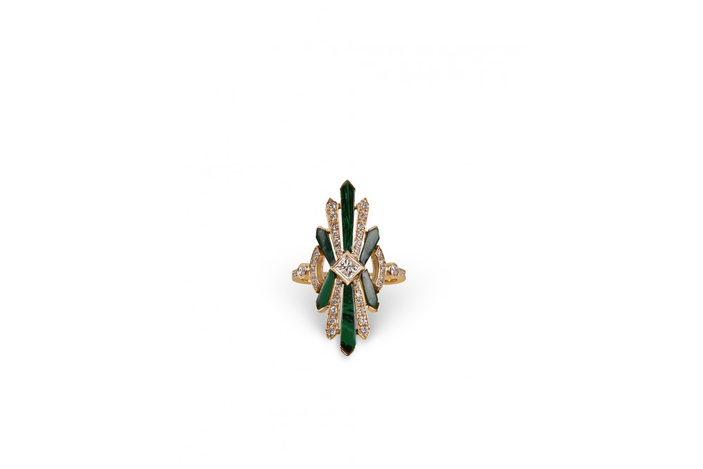BAGUE ART DECO MALACHITE