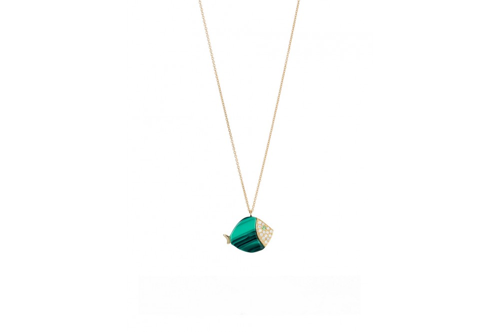 COLLIER LARGE FISH MALACHITE